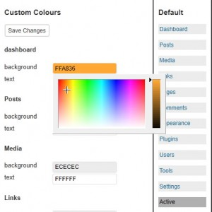 Select colours for wordpress admin menu