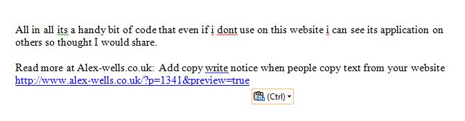 Copy Write added to content copied from a word press blog