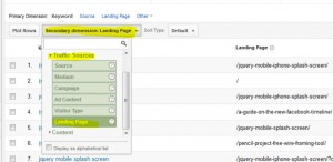 selecting landing page in the analytics results