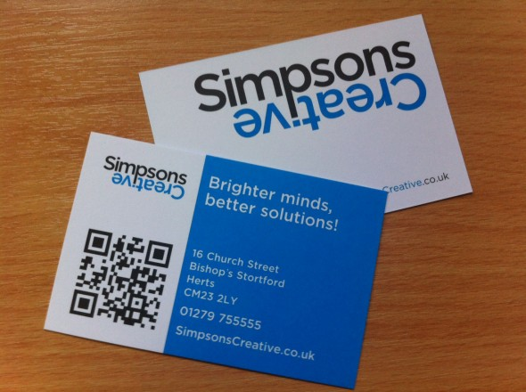 Simpsons Creative QR code on a Business card