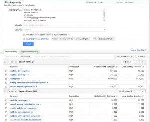 Google keyword research results