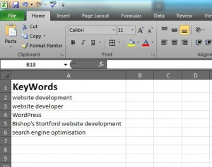 Insert your search engine keywords into an Excel spreadsheet