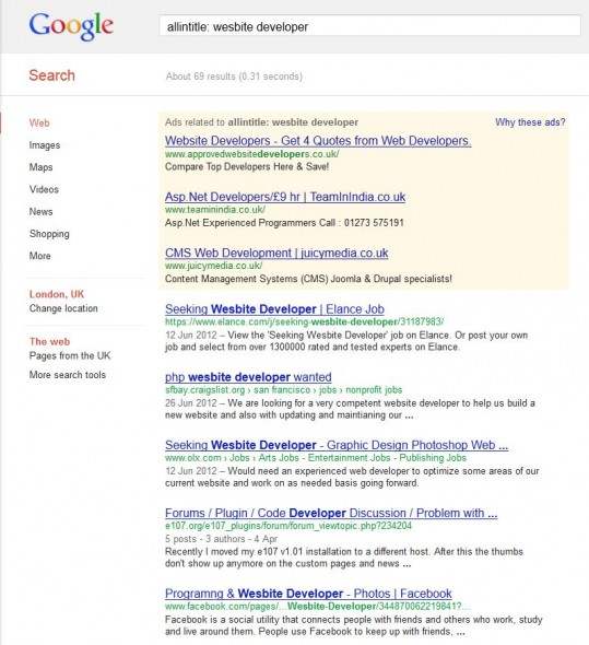 website developer google search