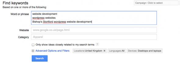 Google adwords entering keywords