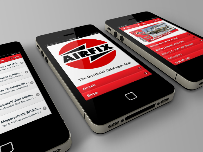 Airfix catalogue app screen shots